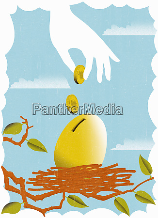 hand depositing coins into golden egg