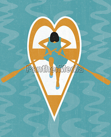 woman rowing heart shape boat