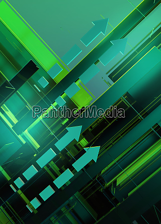 abstract green geometric arrow pattern