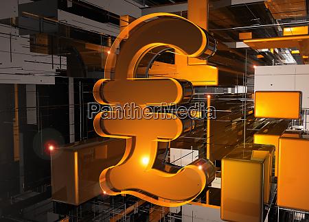 glowing british pound sign among geometric