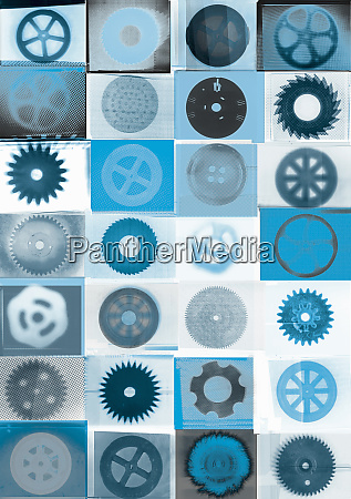 pattern of various cogs wheels saws