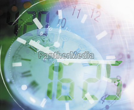 overlapping digital and analogue clock faces