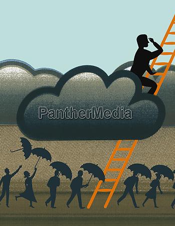 businessman climbing ladder through storm clouds