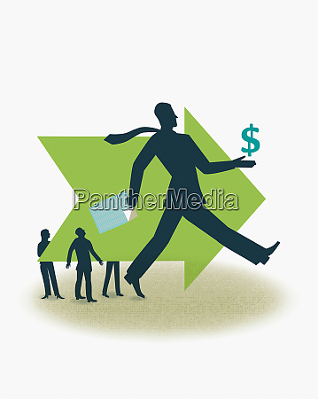 successful businessman striding in direction of