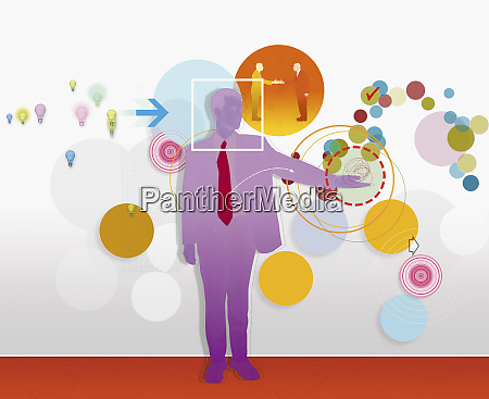 businessman with light bulb and circle