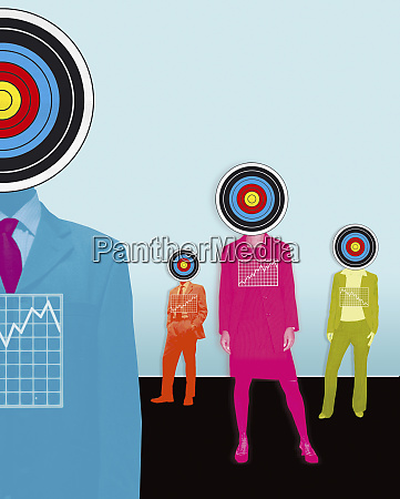 business people with targets for heads