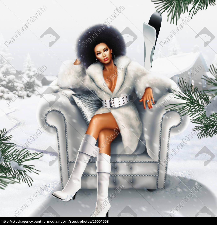 african, woman, in, fur, coat, sitting - 26001553