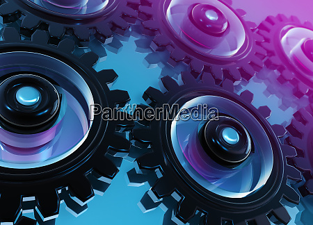 digitally, generated, interconnected, cogs, and, gears - 26001338