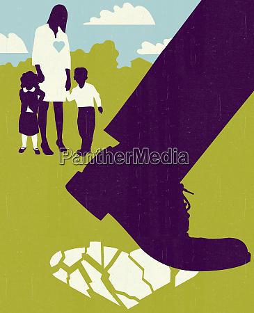 woman, and, children, watching, man, walking - 26001674