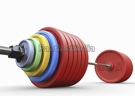 lots of weights on heavy barbell