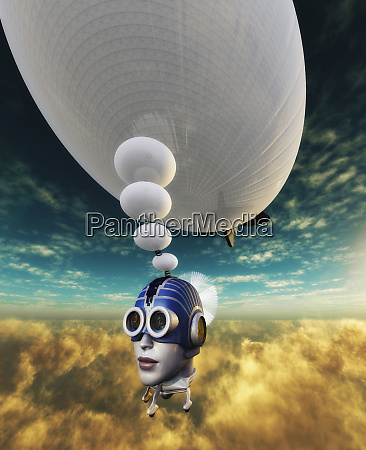 airship floating through air with head