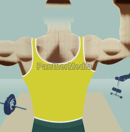 body builder flexing back muscles
