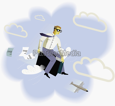 businessman flying through sky on briefcase
