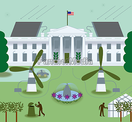 white house with wind turbines