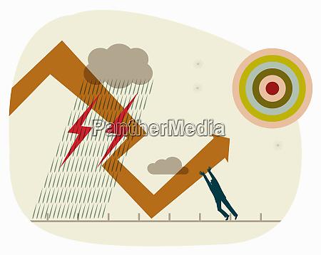 businessman struggling to change direction of