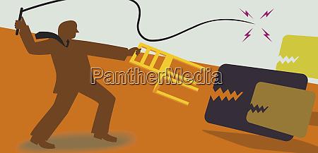 businessman lion tamer fending off credit
