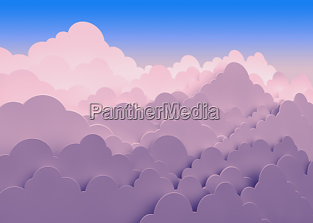 stacked pink clouds against blue sky