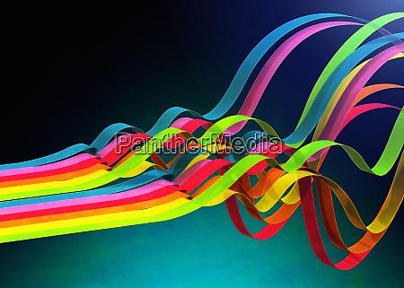 colorful ribbons rippling