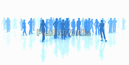 silhouettes of crowd of blue people