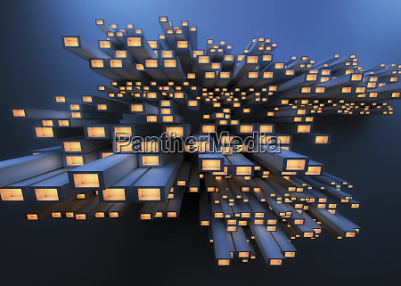 abstract pile of girders with glowing