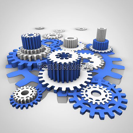 three dimensional blue and white cogs