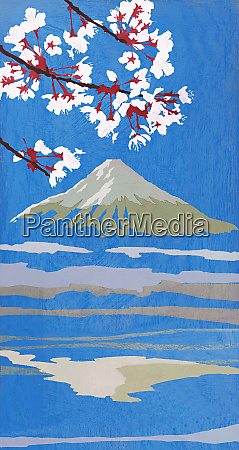 blooming flowers and mt fuji