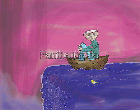 man in rowboat about to go