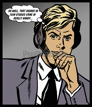 disillusioned handsome call center customer service