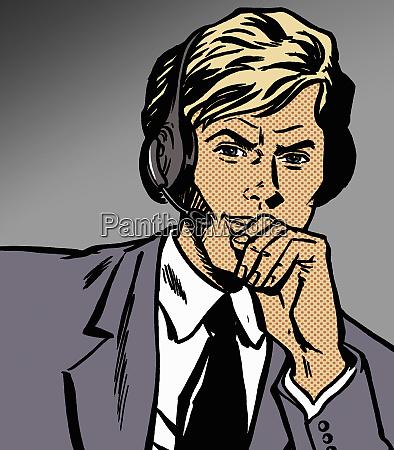 pensive handsome call center customer service