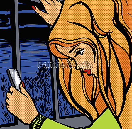 young woman checking her smart phone