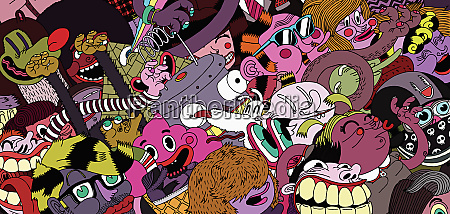 crowd of cartoon characters