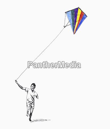 boy pulling kite