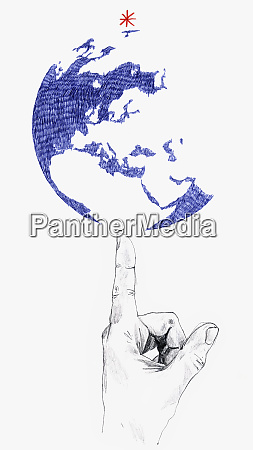 man balancing globe on finger