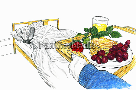 man bringing tray with breakfast in
