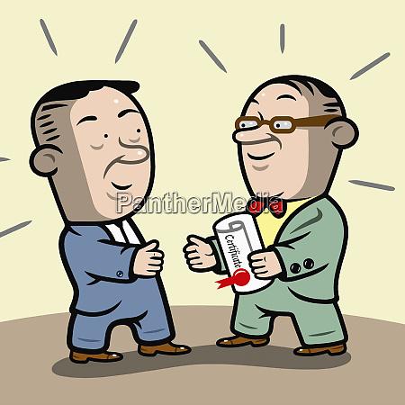professor handing man certificate