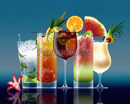 row of different tropical cocktails on