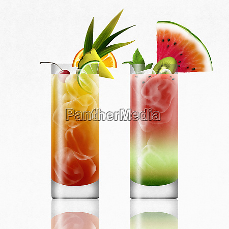 tropical rum punch and watermelon cocktails