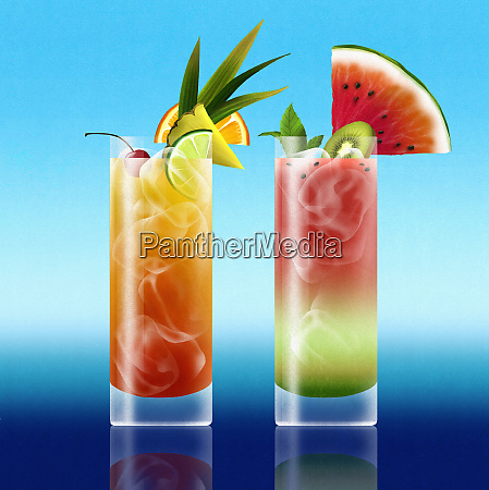 tropical rum punch and watermelon cocktail