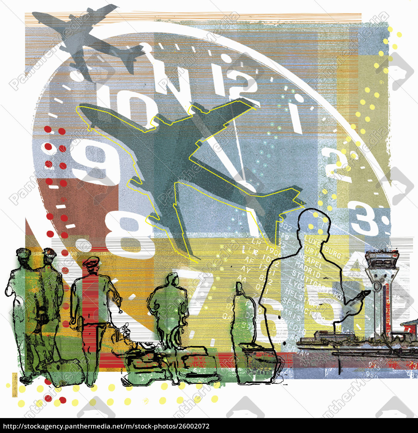 pilots, walking, under, clock, and, airplanes - 26002072
