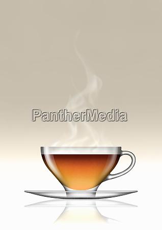 earl grey tea in glass teacup