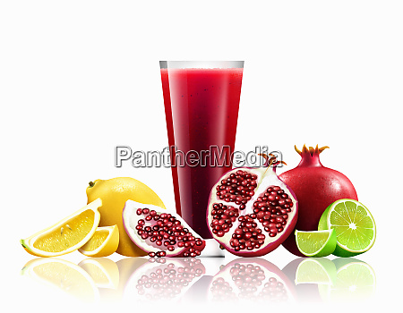 glass of pomegranate lemon and lime
