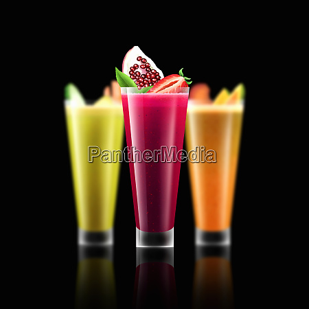 glass of pomegranate and strawberry smoothie