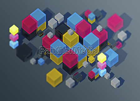 heap of cmyk cubes in mid