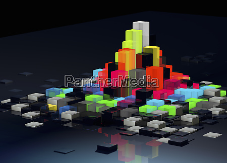 abstract floating bright multicolored blocks protruding