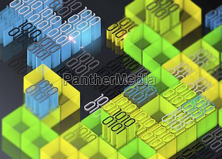 blocks of brightly coloured binary code