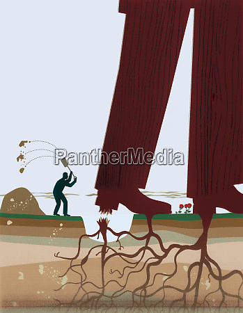 small businessman cutting roots and freeing