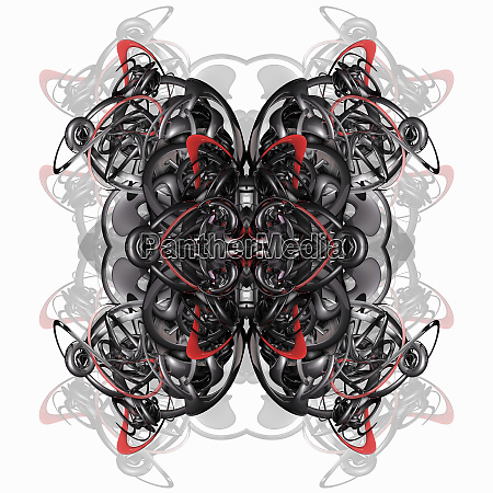 metallic tangled symmetrical abstract pattern