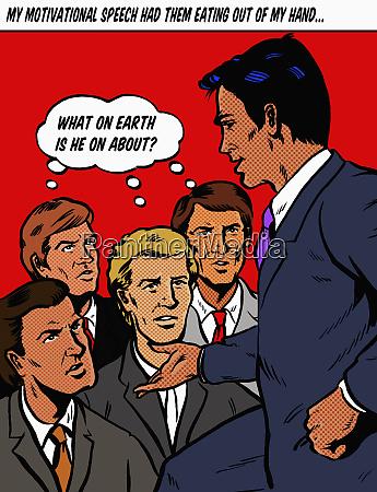 arrogant businessman speaking to confused co