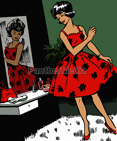 retro woman admiring dress in mirror