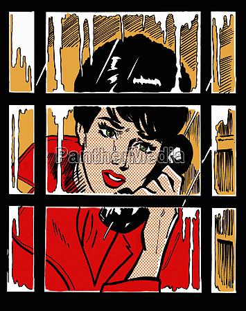 crying woman in telephone box talking